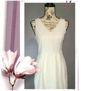 Sequin Hearts Fit & Flare White Eyelet Dress